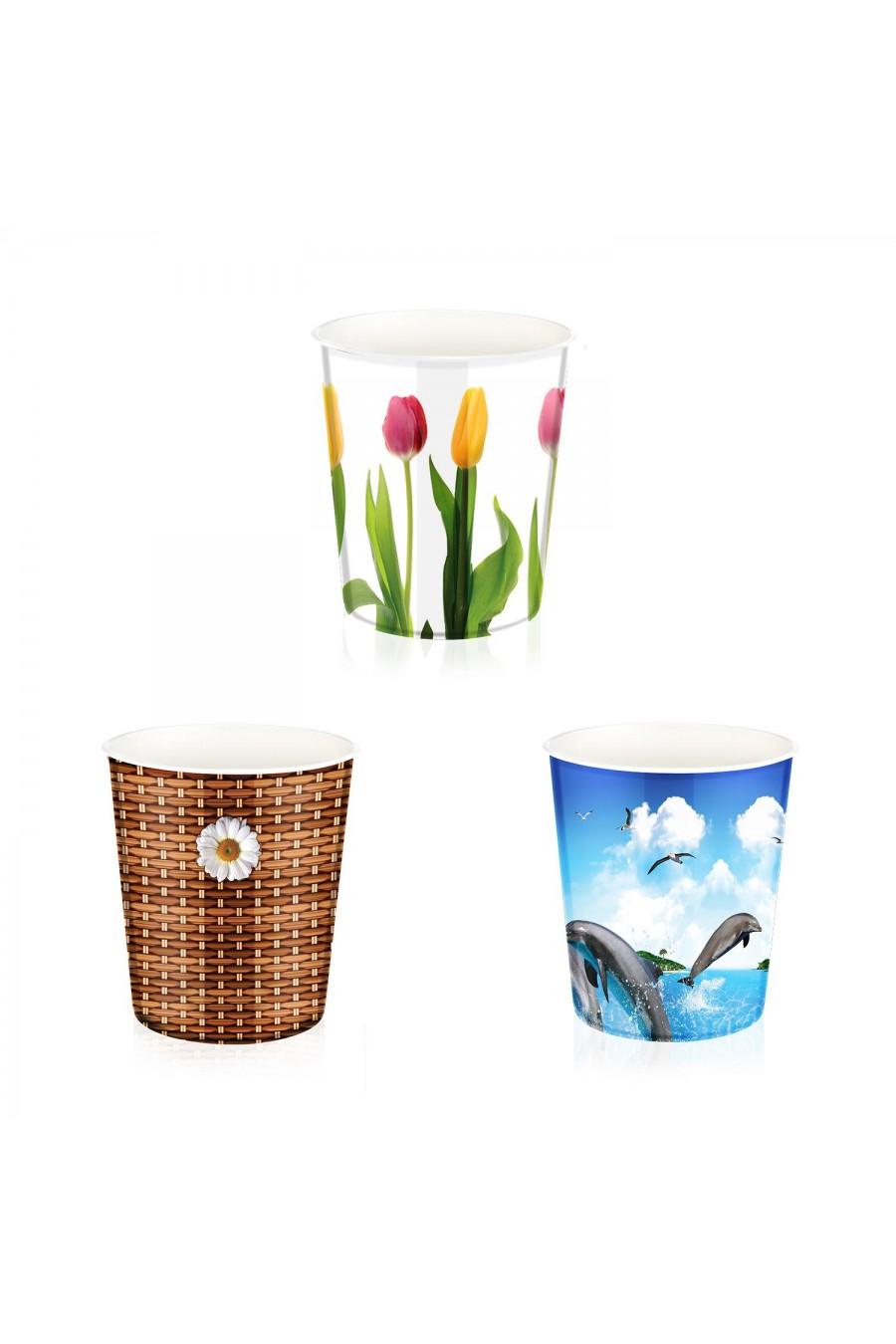PlastArt Desenli Çöp Kovası | Çöp Kutusu