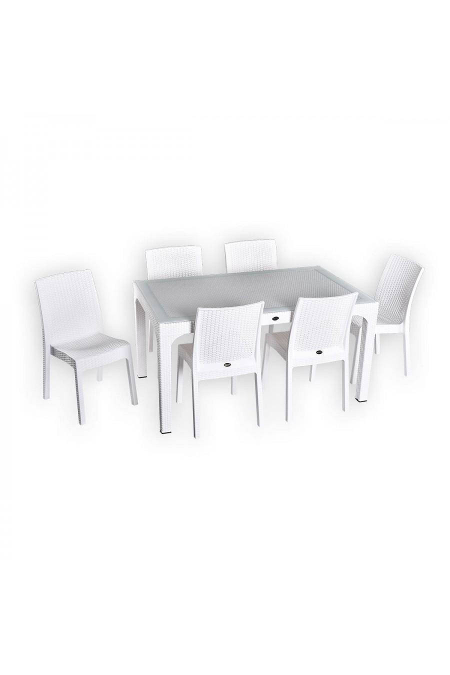 Holiday Markiz 90x150 6'lı Rattan Camlı Masa Takımı   Beyaz