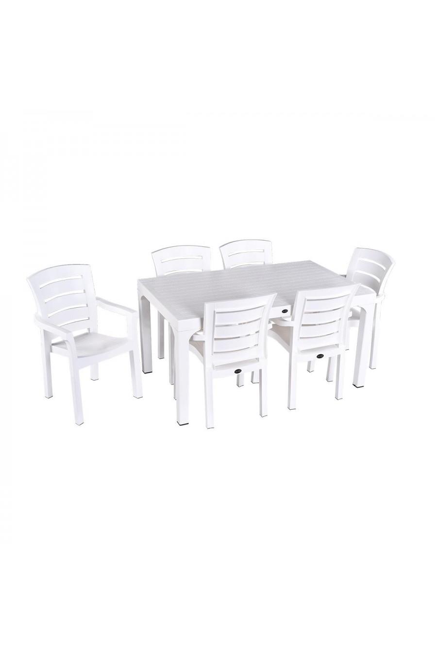 Holiday Wood 90x150 6'lı Wood Masa Takımı   Beyaz