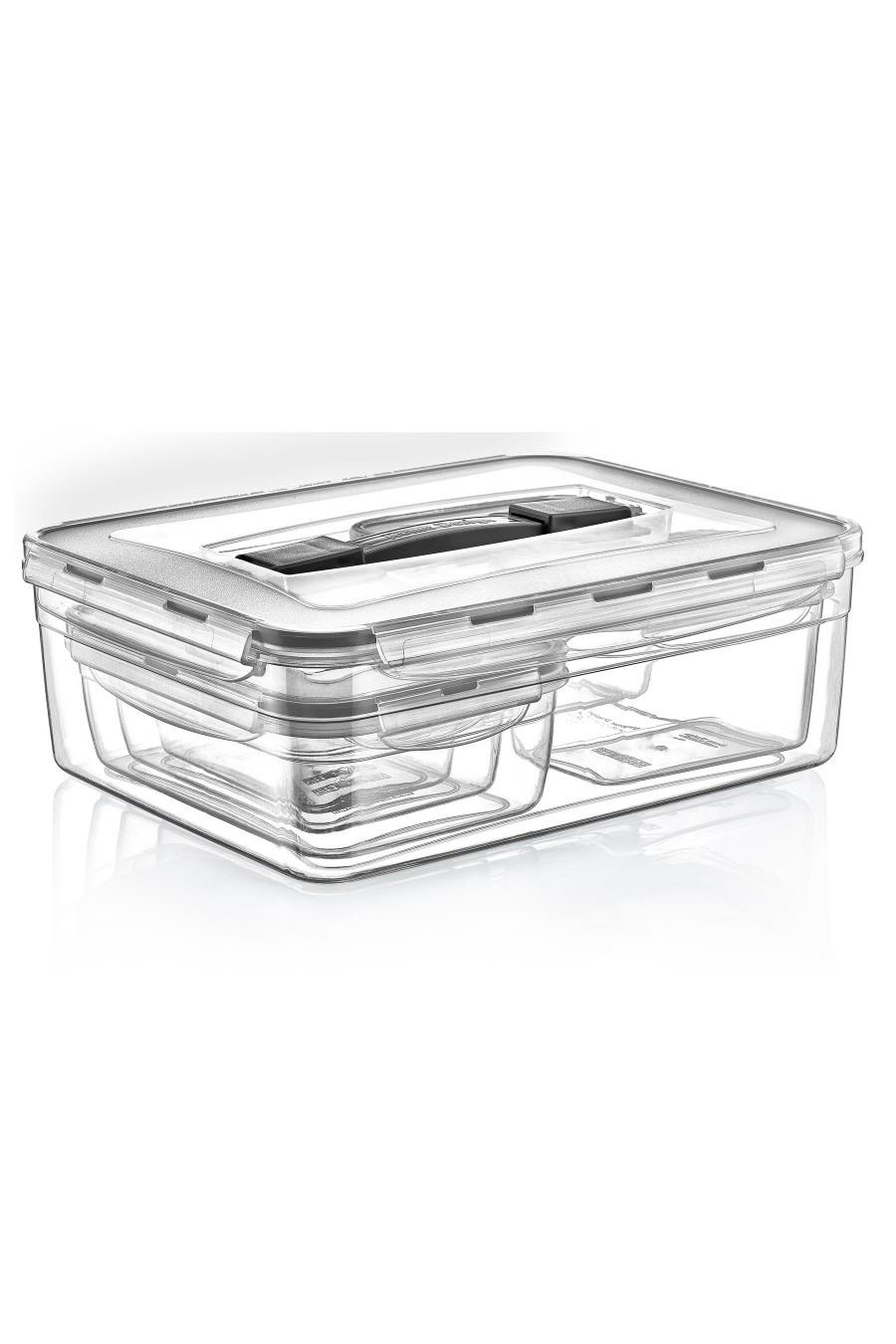 PlastArt 6'lı Dikdörtgen Kuplu Saklama Kabı Set
